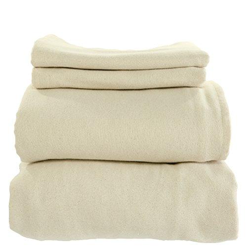 Cotton Flannel Sheets - Whisper Organics Organic Cotton Flannel Sheets Set GOTS Certified (King, Natural)