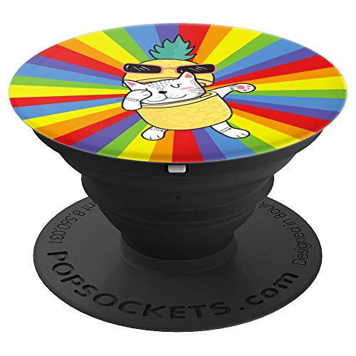 Dabbing Pinecatpple Humor Cat Pun Funny Pineapple Cat Lover PopSockets Grip and Stand for Phones and Tablets]()