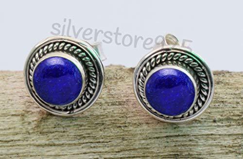 Blue Lapis Lazuli Post Stud Earrings - 925 Sterling Silver Pretty Stone Gemstone Stud Earrings - Teen Girl Women Jewellery - Lapis Post Earrings