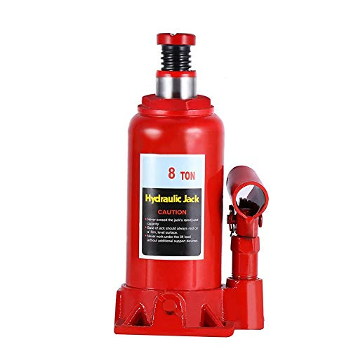 Hydraulic Jack, Red Hydraulic Bottle Jack with 8 Ton Capacity for Car Truck Caravan Van Convertible Coupe Pickup Sedan Hatchback SUV Wagon Tractors ()