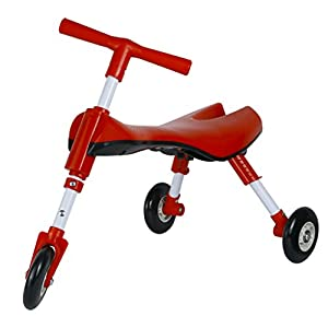 Medog Fly Bike Toddlers Glide Tricycle Foldable Indoor/Outdoor SCOOTER BUG - Non Scratch Wheels - No Setup Required - No Assembly Required - IT under CPC OF CPSIA (RED)