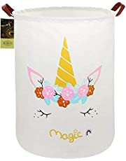 HUNRUNG Large Canvas Fabric Lightweight Storage Basket/Toy Organizer/Dirty Clothes Collapsible Waterproof for College Dorms, Kids Bedroom,Bathroom,Laundry Hamper (Magic Unicorn)