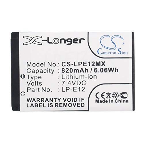 Sunsamy 820mAh/6.07Wh 7.4V Camera Battery for Canon LP-E12/EOS 100D EOS M EOS M2 (Color : Black, Size : 11.70 x 8.40 x 6.90mm) ()