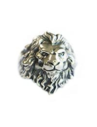 LINSION 925 Sterling Silver King of Lion Ring Mens Biker Ring TA109