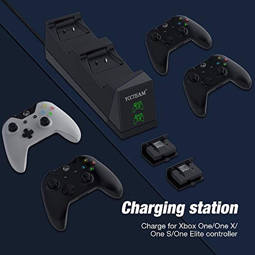 Controller Charger for Xbox One, Y Team Dual Charging Station for Xbox One/One X/One S/One Elite with 2pcs Rechargeable Battery Pack