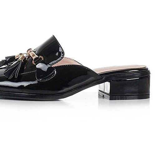 pintura tamaño Negro moda con opcional Tamaño Sandalias Verano EU38 CN38 cuero 5 sandalias femeninas Verano Baotou áspera UK5 Negro Color Color casual wIg7ExcZq