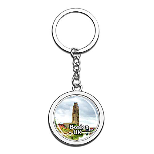 Boston St Botolph's Church UK England Keychain 3D Crystal Creative Spinning Round Stainless Steel Keychain Travel City Souvenir Key Chain Ring -