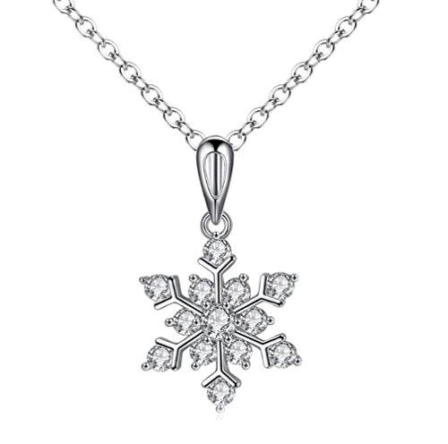 Gudeke Hommes Femmes Neige Flocon De Neige Fleur Cadeau De Noël Pull Chandail Pendentif Collier