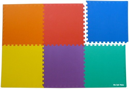 48 Sq. Ft. (set of 12 + borders) 'We Sell Mats' Anti-Fatige Interlocking EVA Foam Flooring-Set of six Multi-Color Tiles-Each 2'x2'x3/8'' Thick