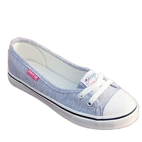 Vovotrade Frauen Fashion Canvas Wohnungen Loafers beiläufigen Breathable Wohnungen feste Schuhe (Size:36, Graun)