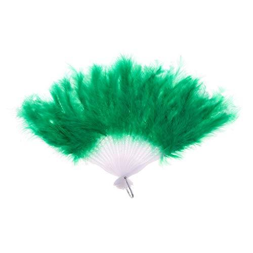 Vintage Feather Folding Belly Dance Hand Fan Fancy Dress Costume Accessories |Item - Green