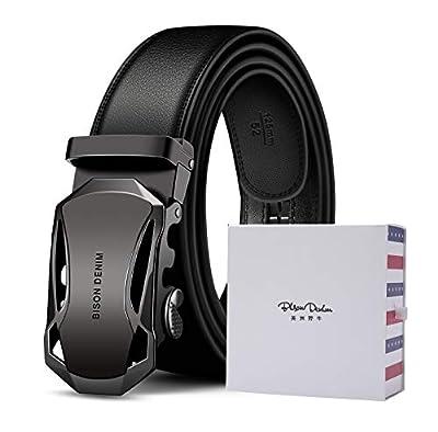 BISON DENIM Men's Ratchet Belt Genuine Leather Dress Belt Click Slide Belt with Automatic Buckle