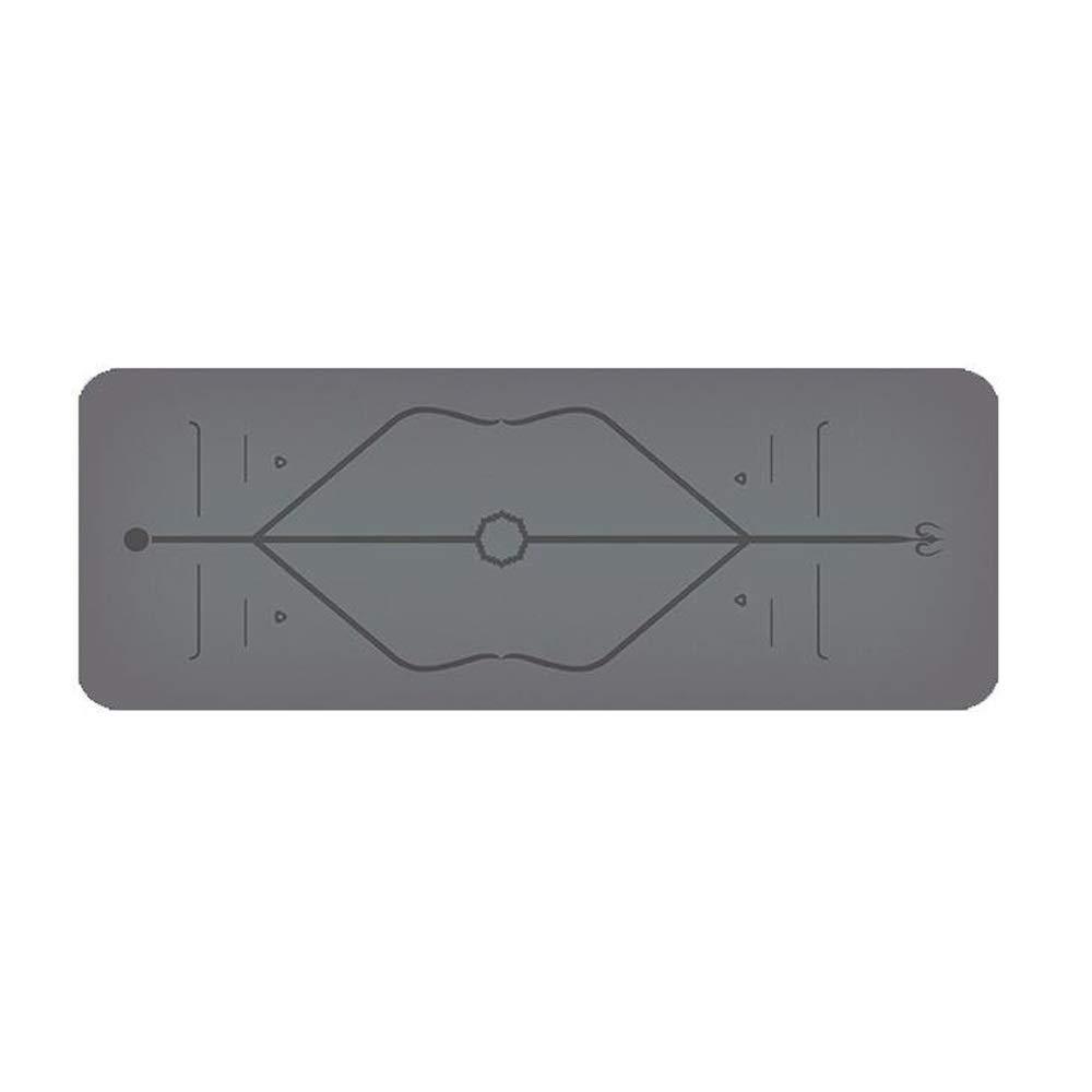 PU天然ゴムヨガマットフィットネスマットタブレットサポートヨガピラティスマットTPE拡大滑り止めローカル強いボディボディライン5ミリメートル (色 : Gray)  Gray B07PYTYXWZ