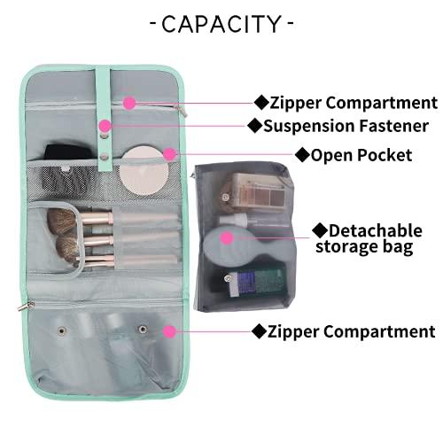 OSTKAKA Nylon Makeup Bag for Women, Small Travel Cosmetic Bag Makeup Pouch ,Zipper Toiletries Bag for Women (Green)