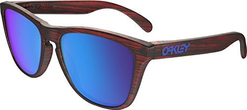 Oakley Men's Frogskins (a) Non-Polarized Iridium Rectangular Sunglasses, Matte Red Woodgrain, 54 - Woodgrain Sunglasses