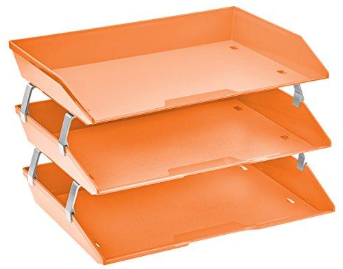 Acrimet Facility 3 Tier Letter Tray Plastic Desktop File Organizer (Orange Color) ()