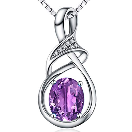Fine Jewelry Gift for Women 925 Sterling Silver Natural Gemstone Pendant Necklace Oval Amethyst