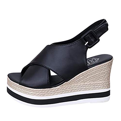 JJLIKER Womens Cross Strappy Flatform Espadrilles Sandals Fashion Open Toe Chunky Wedge Sandal Ankle Strap Buckle Shoes ()