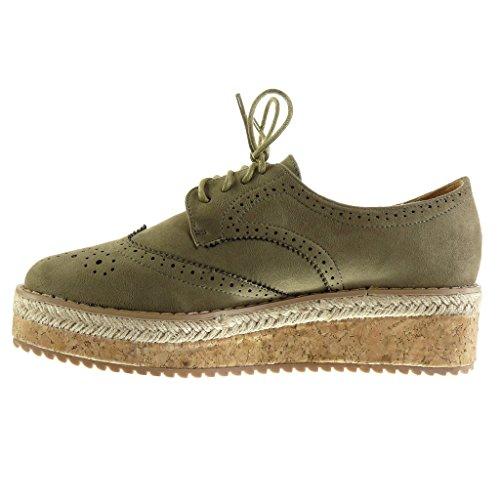 Angkorly - Scarpe da Moda scarpa derby Espadrillas low donna perforato finitura cuciture impunture Tacco zeppa piattaforma 5 CM - Verde
