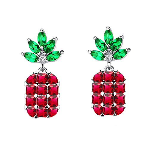 MiYuan Women Fashion White Gold Plated Brass Cubic Zircon Pineapple Style Stud Earrings (Red)
