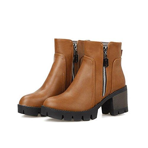 AN Futter DKU01850 Glattleder Wasserdichtes Reißverschluss Road Urethan Urethan Closed Stiefel Gelb Toe A N Womens High Zipper Heel Outdoor Bootie Boots Warmes rwxvrORq