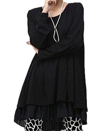 Damen Kleid lose Rundkragen langärmeligen Strickkleid Rock (EU46, Schwarz)