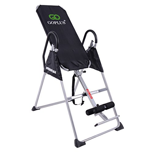 Goplus Gravity Fitness Therapy Inversion Table Adjustable Folding Back Therapy Table Reflexology (Silver Grey and Black)