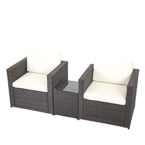 3 PCS Outdoor Patio Sofa Set Sectional Furniture PE Wicker Rattan Deck Couch F5 - Orleans Patio Furniture