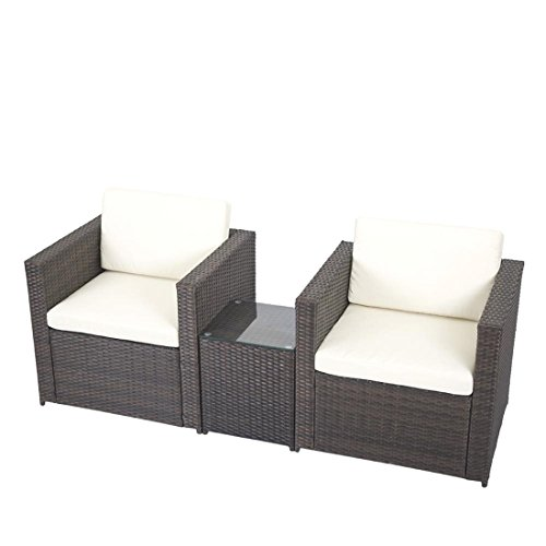 3 PCS Outdoor Patio Sofa Set Sectional Furniture PE Wicker Rattan Deck Couch F5 (Savannah Rattan Garden Furniture)