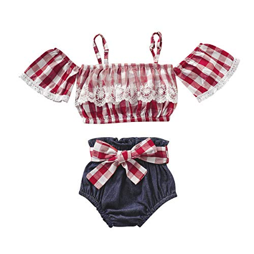 (Toddler Girl Summer Outfits Plaid Ruffle Top + Denim Shorts Pants 2 Pcs Summer Clothes Set for Baby Girls 12-18 Months )