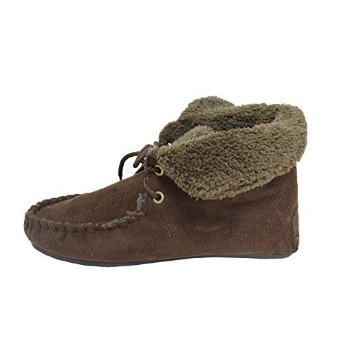 Schoenveter Dames Enkel Hallo Mocassin Bootie Pantoffels Faux Suède Bont Gevoerde Schoenen Bruin