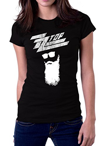 (ZZ Top Rock Band Logo Texas Women's T-shirt Medium Black)
