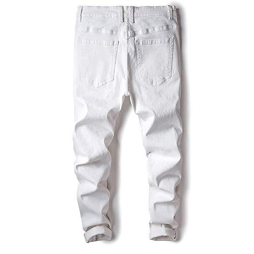 Casual Giovane Denim Bianca Skinny Jeans Uomo Matita Strappati Stretch Pantaloni Slim Fit Dainty Distrutto Look wwPxZvY