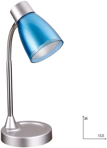 Fan Europe lámpara de mesa con tulipa E14, 40 W, Azul, 36 x 13.5 ...