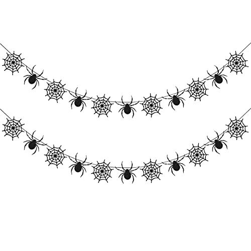 Halloween Spider Web Pics (2Pcs Black Glittery Spiderweb Garland for Halloween Party Decorations,Mantle Home Decor,Hanging Spider Web Banner)