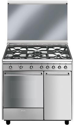 Smeg CX91GVE - Cocina (Independiente, Acero inoxidable, 57L, Gas ...