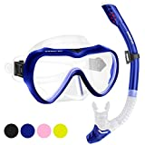 SwimStar Snorkel Set for Women and Men, Anti-Fog Tempered Glass Snorkel Mask for Snorkeling, Swimming and Scuba Diving, Anti Leak Dry Top Snorkel Gear Panoramic Silicone Goggle No Leak
