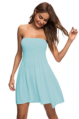 Mint Tube Dress - Honeuppy Tube Top Dresses for Women's Summer Sexy Strapless Swing Beach Mini Dress (L, Mint)