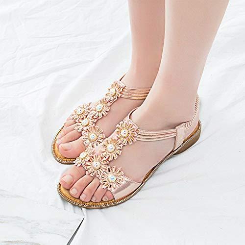 Selvaggi Vacanza 42 Donna Shopping Boemia Elastico Casuale Sandali Pink Spiaggia Piatti Moda Scarpe Da 36 Cristallo slip Per Non Bazhahei Girasole 6fTx0H