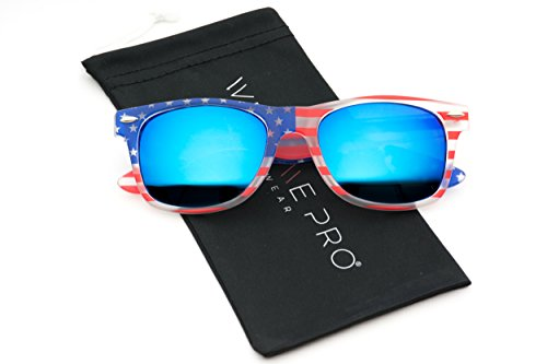 WearMe Pro - American USA Flag Horn Rimmed Sunglasses Retro 80s Mirror - Retro Sunglasses 80s