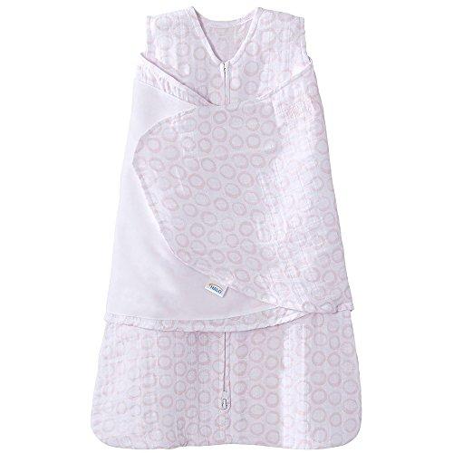 (Halo 100% Cotton Muslin Sleepsack Swaddle Wearable Blanket, Circles Pink, Small)
