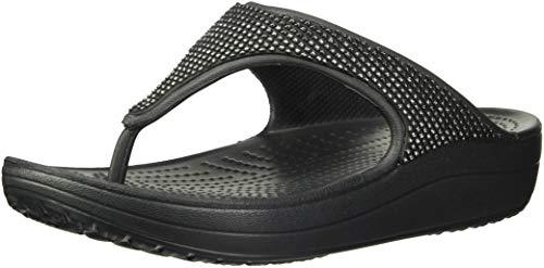 (Crocs Women's Sloane Ombre Diamante Flip Flat Sandal Black, 9 M)