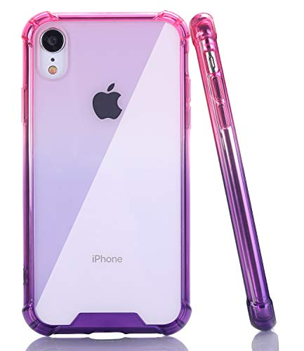 (BAISRKE iPhone XR Case, Slim Shock Absorption Protective Cases Soft TPU Bumper & Hard Plastic Back Cover for iPhone XR 2018 [6.1 inch] - Pink Purple Gradient)