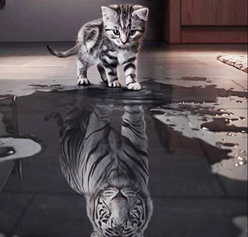LeePakQ 12×12inch Diamond Painting Full Ambitious Cat Paint with Diamond Cross Stitch Kits Diamond Embroidery Dotz Kit Arts Craft,I am Tiger
