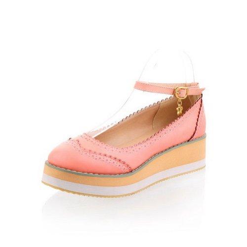 Amoonyfashion Womens Ronde-toe Gesloten-teen Lage Hakken Pumps-schoenen Met Platform En Draad Roze