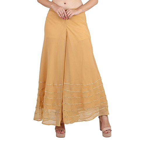 Shararat Women's Palazzo Pant Georgette Loose Wide Lace Work High Waist Sharara (Golden)
