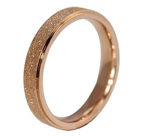 AMDXD Jewelry Titanium Stainless Steel Jewellery Plated Rose Gold Women's Rings Sandblast Finish US Size