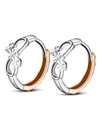 14K Italian Rose And White Gold Two Tone Tiny Infinity Love Symbol Promise Huggie Hoop Earrings (8mm)