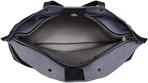 CTM Satchel Bag por mujeres con estilo, 47x30x14cm, cuero genuino 100% Made in Italy Negro (Nero)