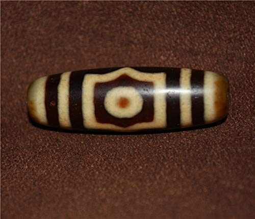 (Genuine Tibetan Real Three Eyed Dzi Bead Amulet Pure 3 Eyes Gzi Pendant Ancient Tianzhu Agate Stone Ivory Color Old Antique Milky Gzi Nepal Zee Tibet Buddhism Necklace Authentic Protective Lucky Charm Talisman )